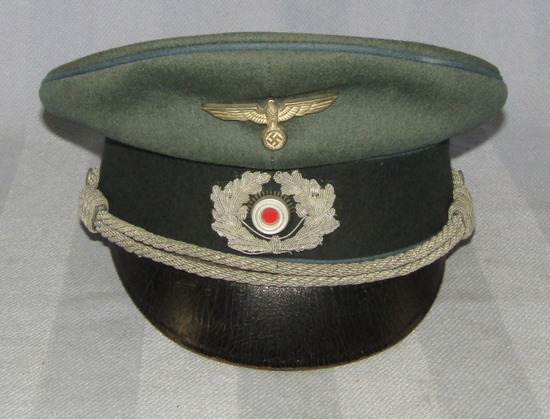 German Officer's Visor Cap W/Light Blue Piping-Supply/Vehicle Troops-Leather Visor