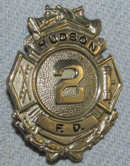 Scarce & Obsolete Vintage Hudson Fire Dept. Numbered Badge