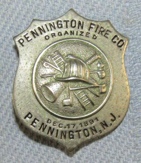 Scarce & Obsolete Vintage Pennington, N.J. Fire Company Badge-Dec. 17, 1891