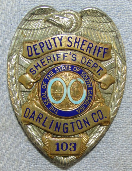 Scarce & Obsolete Vintage South Carolina, Darlington County Deputy Sheriff Badge-Numbered