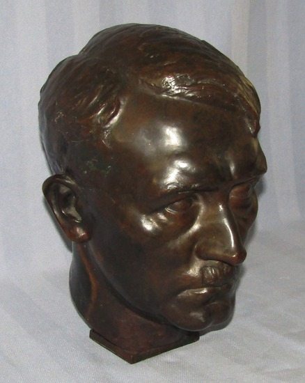 Rare 2-1/2 Times Life Size Hitler Head Bronze Bust By H.M. Ley