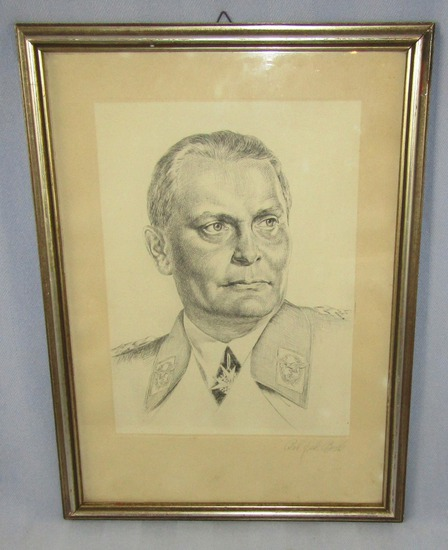 Early WW2 Period Pencil/Ink Pen Portrait Drawing-Hermann Goring-Artist Signed-Framed