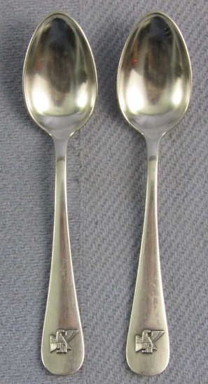 "Pair Of Nazi Leader Fritz Saukel Monogram Demitasse Spoons-""BRUCKMANN 90"""