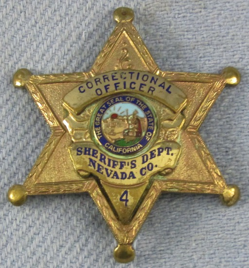 Scarce & Obsolete Vintage Nevada Sheriff's Dept. Correctional Officer Numbered Badge