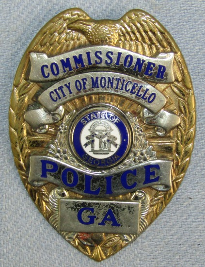 Scarce & Obsolete Vintage Monticello, Georgia Police Commissioner's  badge W/Wallet Clip