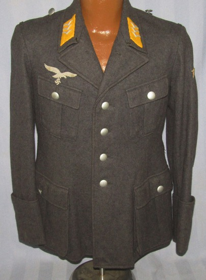 "Early Luftwaffe 4 Pocket Fallschirm/Flight Tunic For Rank Of Obergefreiter-By ""Lago-Mu"""