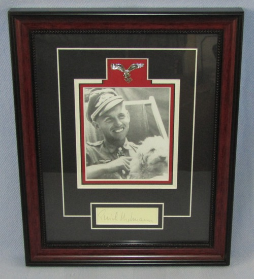 Original Luftwaffe Ace  Erich Hartmann Signature Framed Display