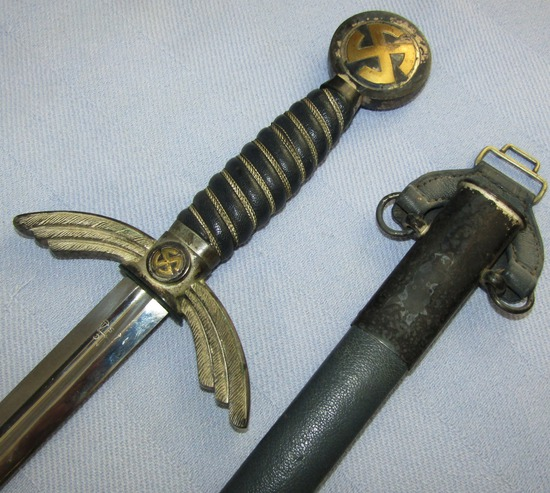 Early Nickel Fittings Luftwaffe Officer's Sword W/Scabbard/Hanger-ALCOSO