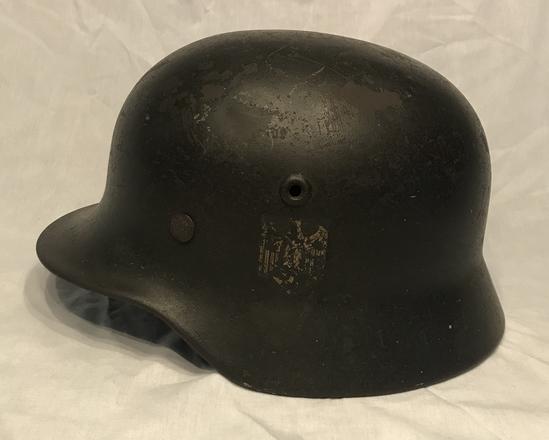 Heer M40 Single Decal Helmet With Liner-Q64-Combat Worn Example!