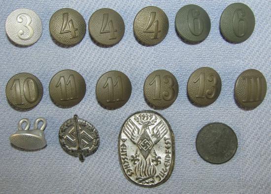 16pcs-WW2 German Uniform Buttons-Rally Badge-10 Pfennig Coin
