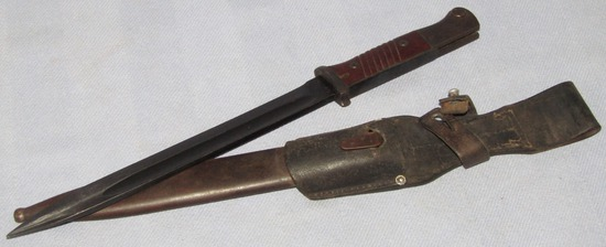 K98 Bayonet With Unit Stamped Leather Frog-Non Matching
