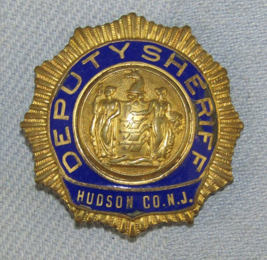 Scarce & Obsolete Vintage Hudson County, N.J. Deputy Sheriff Badge-Circa 1930-40's