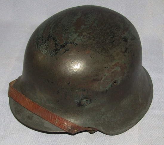 M42 Helmet with Light Camo? Finish-Original Liner-Early Type Roller Buckle Chin Strap