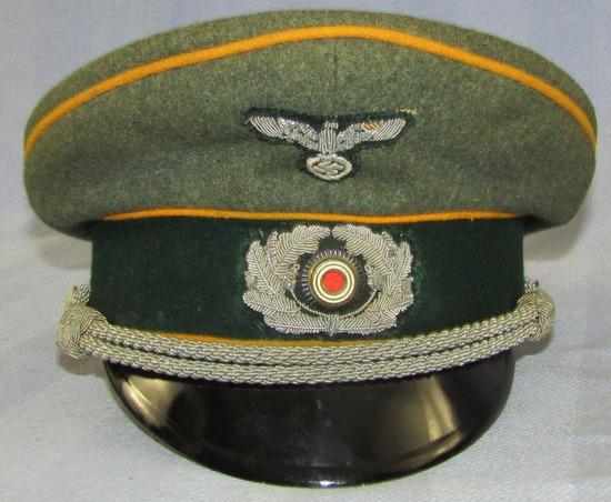 WW2 Period German Cavalry Officer's Visor Cap-Bullion Insignia