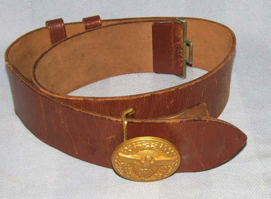 Political Leader Brown Leather Belt With Gold Gilt Buckle