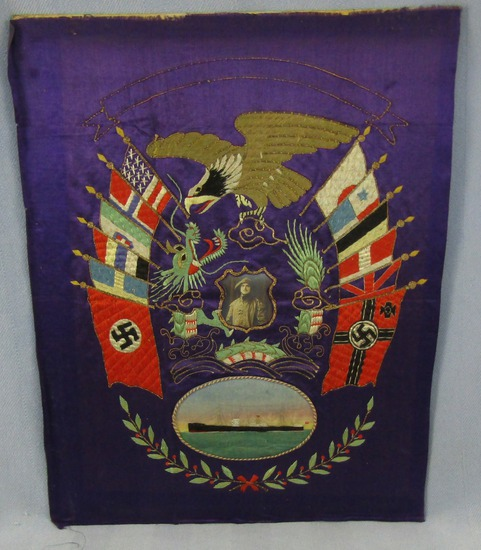 Pre/Early WW2 Embroidered Silk Ship's Crewman Cruise Tapestry