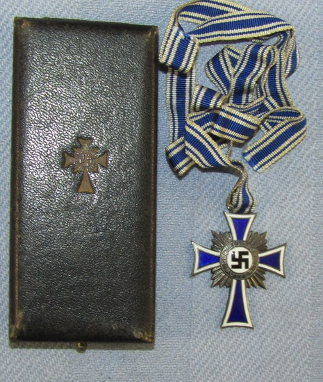 Mother's Cross In Silver With Full Ribbon-Cased By Deumer