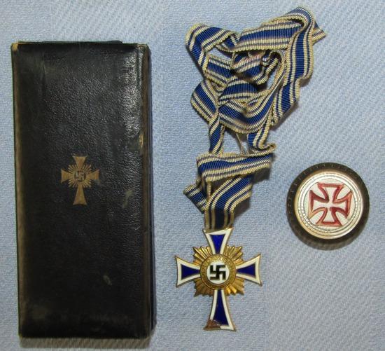 Cased Mother's Cross In Gold-Full Ribbon By Juncker-Maltese Cross Cane Topper