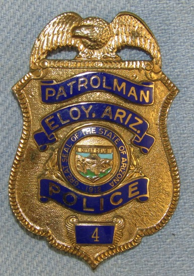 Scarce & Obsolete Vintage Elroy, Arizona Police Patrolman Numbered Badge