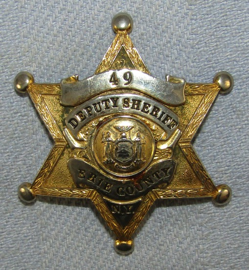 Scarce & Obsolete Vintage Erie County, NY Deputy Sheriff Numbered Badge