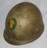 WW2 Firestone M1 Helmet Liner W/Period Hand Painted 87th Inf. Division Insignia-Named