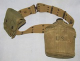 WW2 Period U.S. Web Belt W/Canteen/Jungle 1st Aid Pouch-Named To Officer