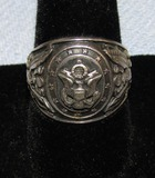 WW2 Period United States Military Motif Signet Men's Sterling Ring