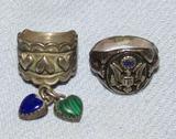 2pcs-WW2 Period U.S. Military Motif Sterling/Enamel Men's Ring-Sterling Sweetheart Ring