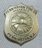 Scarce & Obsolete Vintage Pennington, N.J. Fire Company Badge-Dec. 17, 1891