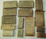 14pcs- WW2 Period Military Issue Gauze, Bandages, Foot Powder, Ammonia, Iodine, Etc.
