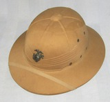 WWII Period USMC Pith Helmet For Enlisted-1942 Dated-Named