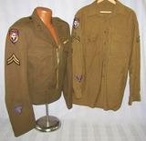 U.S. Airborne Troop Carrier/11th AAF Ike Jacket/Combat Shirt-Both Serial Numbered
