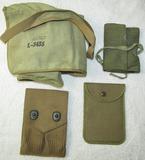 4pcs-WW1 Pistol Clip Pouch-WW2/Earlier Soldier Shaving Apron-HBT Sewing Kit-Shave Mirror