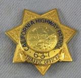 Scarce & Obsolete Vintage California Highway Patrol Traffic Officer's Numbered Badge