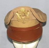 WWII Period U.S. Army/Air Corp Officer's Crusher Form Khaki Visor Cap-
