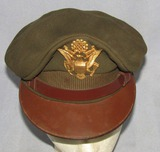 WWII Period Army Officer's Dark OD Visor Cap-Depot Issue