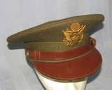 Quality Tailored WW2 Period U.S. Army/Air Corp Officer's OD Wool Visor Cap-Scarce Maker