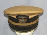 WW2 Period USN Ensign/Lt. Commander Khaki Top Visor Cap W/Bullion Insignia-Named
