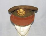 Fine Quality Doeskin OD Wool WW2 U.S. Army/Air Corp Officer's Visor Cap-