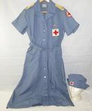 WWII American Red Cross Nurse's Blue Cotton Dress W/Matching Hat