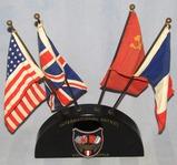 Rare WWII Occupation International/Vienna Police Patrol Flag/Metal Arm Badge Display