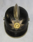 WW2 German Fire Police Leather Helmet With Comb/Regional Front Plate Device
