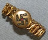Unique Circa Early 1940's Photo Bracelet With Jeweled Swastika Accent
