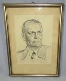 Early WW2 Period Pencil/Ink Pen Portrait Drawing-Hermann Goring-Artist Signed-Framed