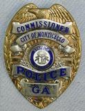 Scarce & Obsolete Vintage Monticello, Georgia Police Commissioner's  badge W/Wallet Clip