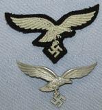 2pcs-WW2 Period Luftwaffe Cap Eagles-Herman Goring-Metal Eagle Device