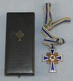 Cased Mother's Cross In Bronze-Full Ribbon-Franz Reischauer, Oberstein Maker