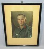 Third Reich Era Luftwaffe Flak Soldier Watercolor Portrait-Framed