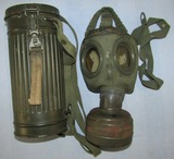 Late War 1944 Dated German Soldier Gas Mask Canister W/Earlier Mask