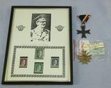 Framed Hitler Stamps Display-Vet Bringback War Merit Crosses